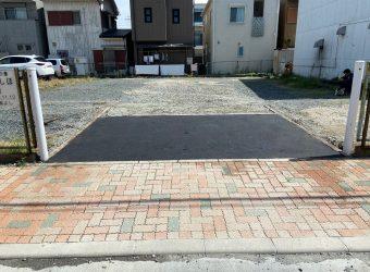 愛知県名古屋市 駐車場間口部分砕石飛散止め 舗装工事