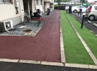 愛知県あま市七宝 舗装修繕 タイヤ止めブロック交換工事