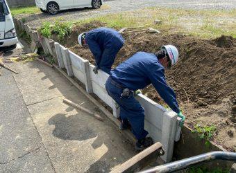 愛知県あま市七宝町 板柵土留め 復旧 修繕 補修工事