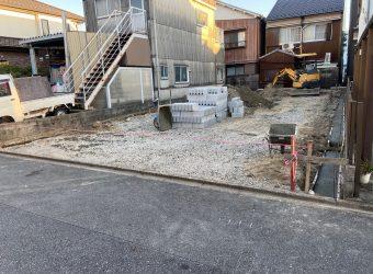 愛知県名古屋市港区 造成工事 CBブロック積み