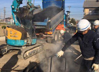 名古屋市港区 店舗駐車場増設透水性舗装・ライン工事