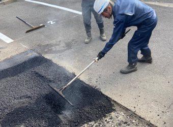 名古屋市天白区 駐車場修繕工事 アスファルト ライン引き