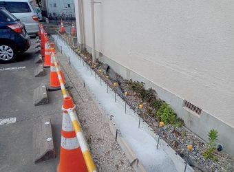 交通事故によるCBブロック フェンス復旧工事