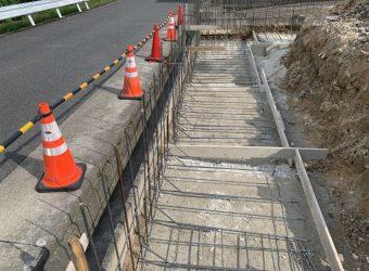 CP型枠擁壁 アスファルト舗装 ライン引き フェンス工事